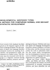 Syntactic Development Chart Developmental Sentence Types A Method For Comparing Normal
