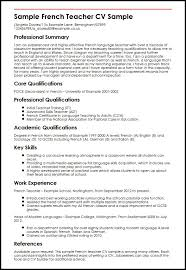 Sample French Teacher CV Sample MyperfectCV Magnificent Resume In French