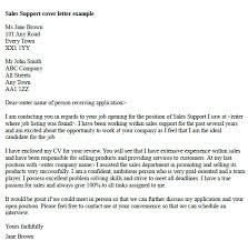 Open Cover Letters Sales Support Cover Letter Example Resume