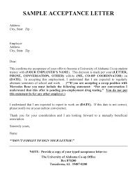 Job Acceptance Email Sample Employment Acceptance Letter Sample
