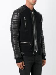 black cotton and lambskin hoo sweater jacket from balmain men leather jackets balmain clothing