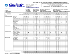 Car Maintenance Chart Vehicle Maintenance Schedule Chart Vehicle Maintenance Log