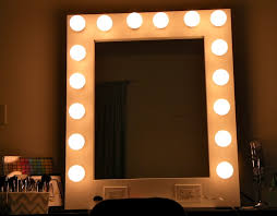 White Framed Vanity Mirror With Bulb Lights, Mirror With Lights Around It:  Bathroom,