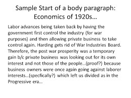 essay s introduce dbq directions the following question sample start of a body paragraph economics of 1920s labor advances being taken back