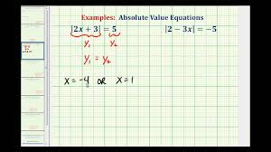 ex solving absolute value equations on the graphing calculator