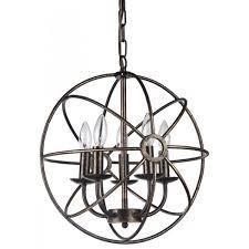 sphere lighting fixture. Antique Bronze Globe Sphere Cage Chandelier 5-Light Ceiling Fixture Lighting