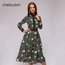 2019 Spring <b>Patchwork Printing Women A Line</b> Dress Vintage Style ...