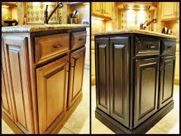 before and after painting laminate kitchen cabinets