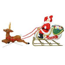 Santa with Sleigh | Reindeer Blow Mold Christmas Decoration