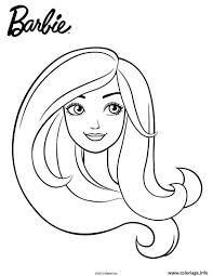 Coloriage Barbie En Portrait Facile Fille Dessin Se Rapportant