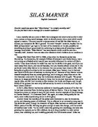 how far would you agree that silas marner is a simple morality page 1 zoom in