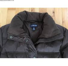 basic coat lands end women s puffy down parka jacket sz m 10 12 chocolate brown