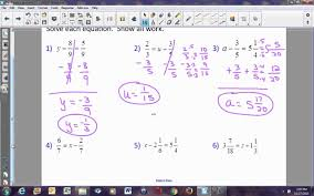 pre algebra lesson 5 7 solving equations by adding or subtracting fractions you