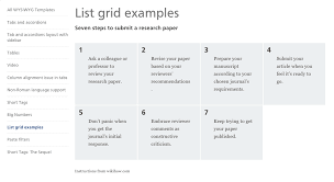 Grid displays with ol and ul lists