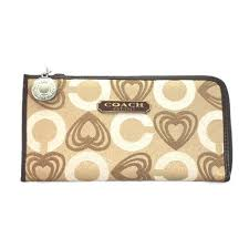 Coach Heart Charm Large Khaki Wallets EEE