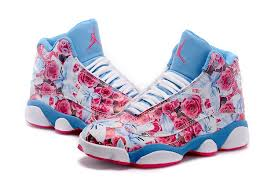 jordan shoes 2017 for girls. girls air jordan 13 retro floral pro bowl custom white blue with pink flower shoes 2017 for i