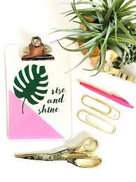cute office decor. Office Decor \u2013 Cute Decorating Ideas Rise And Shine Clipboard Tropical Leaf