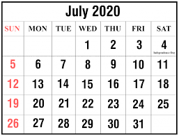 Calendar July 2020 Printable Learn These Calendar 2020 June And July Fryman S Boat Dock
