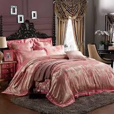 6pcs set 100 damask silk chinese traditional wedding bedding sets purple red gold pink