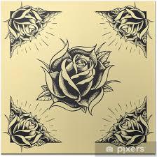 Plakát Růže A Design Rámu Tattoo Styl