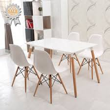white dining table set. Schindora® Charles \u0026 Ray Eames Inspired Eiffel DSW Retro Design Wood Style Chairs And Table White Dining Set