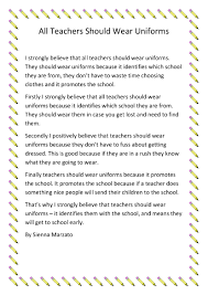 teachers should wear uniforms barrington public school sienna marzato