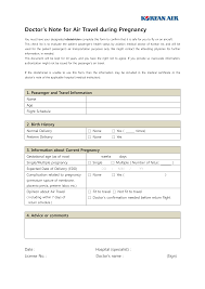 Pregnancy Template Medical Doctors Note Air Travel During Pregnancy Templates