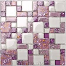 purple glass mosaic pattern tiles for bathroom wall