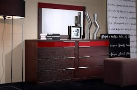 eight drawers dresser in wenge wood grain with red details