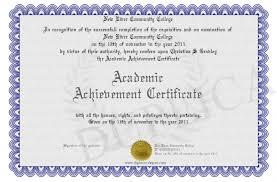 Achievement Certificate Academic Achievement Certificate