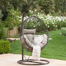 layla outdoor wicker hanging basket chair with cushions by christopher knight home free today 24006805