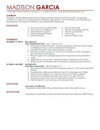 Executive Secretary Resumes Examples Unforgettable Receptionist