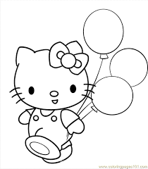Small Picture Hellokitty With Balloons Coloring Page Free Hello Kitty Coloring