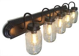 5 Light Bathroom Vanity Light Lamp Goods Mason Jar Vanity Light New Quart 5 Light