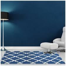 rugsville trellis blue ivory durries rug 5 x 8