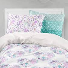 mermaid girl bedding purple mint