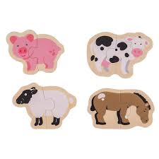 bigjigs toys chunky wooden two piece jigsaw puzzles farm animals