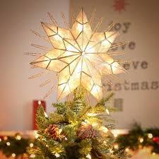 Kurt Adler 14 Inch Lighted Capiz 7Point Star Christmas Tree Christmas Tree Lighted Star