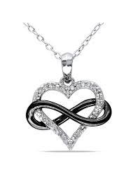 miabella miabella diamond accent two tone sterling silver infinity heart women s pendant necklace 18 com