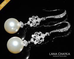 bridal pearl chandelier earrings wedding pearl earrings swarovski 10mm ivory pearl dangle earrings bridal pearl drop earrings bridal jewelry 30 90 usd