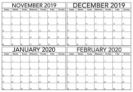 Blank November 2019 To February 2020 Calendar 2019