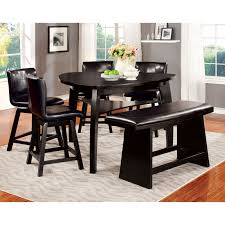 furniture of america damore contemporary counter height high gloss round dining table hayneedle