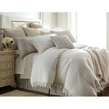 amity home bedding micah cable knit lace linen duvet cover ivory p