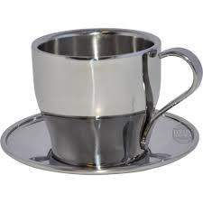 frabosk stainless steel cappuccino cupssaucers  set of  at st