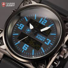 watch machine picture more detailed picture about shark army shark army digital watch blue dial sport luminous sport alarm silicone band chronograph mens rectangle military