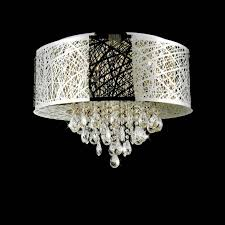 attractive chandelier with shade and crystals 14 0000858 22 web modern laser cut drum crystal round flush mount stainless steel 9 lights