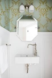 small powder rooms powder room traditional with large sink wall panelling exposed plumbing