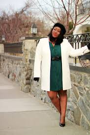 best plus size winter white coat outfit curvy fashion blogger