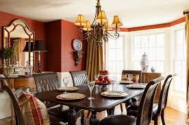 wallcovering in red brings both color and texture to the dining space from chad