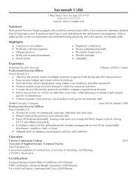 Security Resume Objective Examples Police Officer Resume Objective Successmaker Co